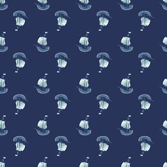 Путешествие транспорта бесшовные модели с каракули печатью парусник корабль. темно-синий фон. орнамент каракули. предназначен для тканевого дизайна, текстильной печати, упаковки, обложки. векторная иллюстрация.