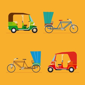 Travel transport taxi, tourism and vehicle set