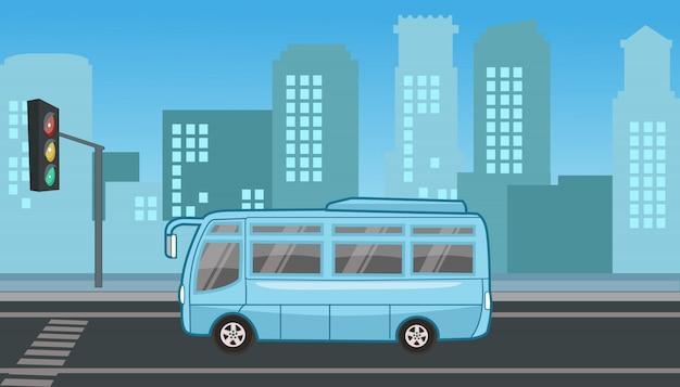 Туристический транспортный автобус в светофоре плоского дизайна