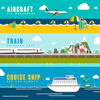 스타일의 여행 교통 개념