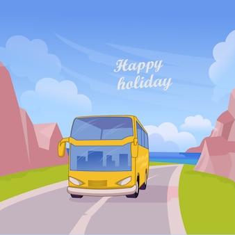 여행 교통 해변 평면 디자인 벡터에 휴가 여행을 즐길 수