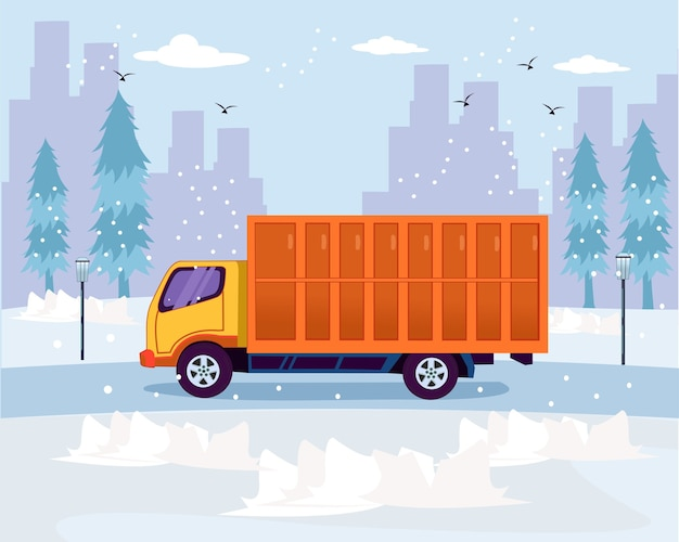 Travel transportation truck run in the winter season flat design
