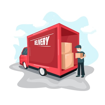 Travel transportation with delivery truck lowering the package flat design