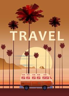 旅行、旅行のイラスト。夕日、海、海、海。サーフィンのバン、道路パームビーチのバス。夏休み