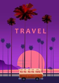 旅行、旅行のイラスト。日没、海、海、海道路の手のひらにサーフィンバス