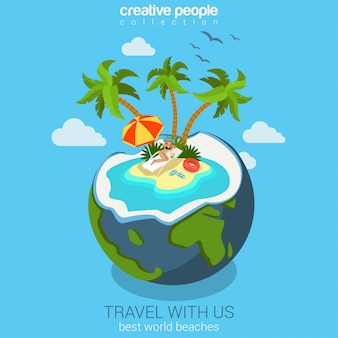 Travel tropical island vocation flat isometric concept sunbathing woman on deck chair on beach in world globe coconut cocktail