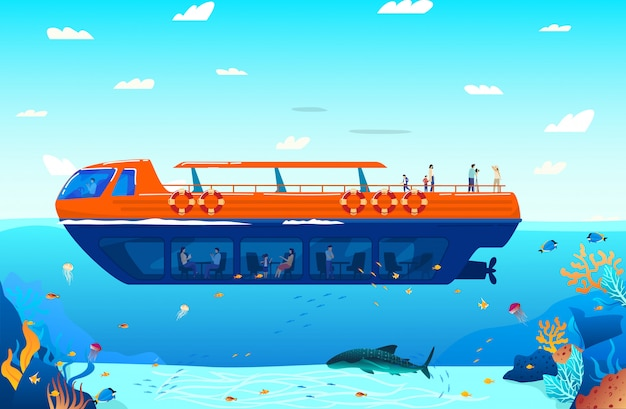 Travel in tropical sea on water transport poster  illustration. marine ship cruise, sailboat floating on ocean water with exotic fish and sealife.