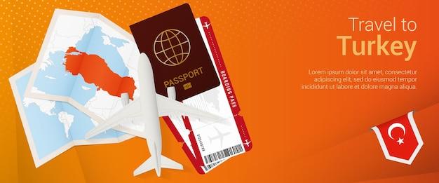 Travel to turkey popunder banner trip banner with passport tickets airplane boarding pass