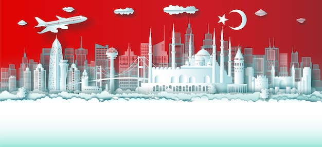 Travel turkey top world famous city ancient and palace architecture with turkey flag colors.