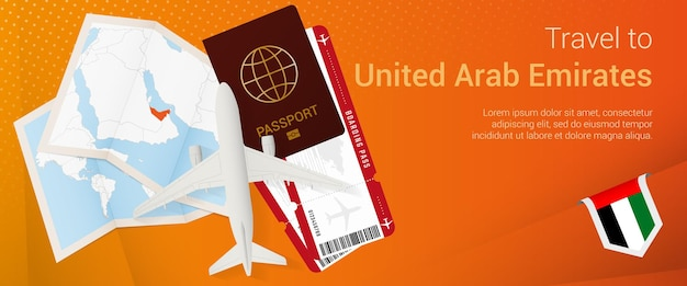 Travel to united arab emirates banner trip banner with passport tickets airplane boarding pass