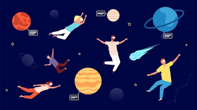 Travel in universe. virtual reality glasses entertainment, astronomy augmented reality game. zero gravity people flying in space with planets and asteroids vector illustration. visual entertainment