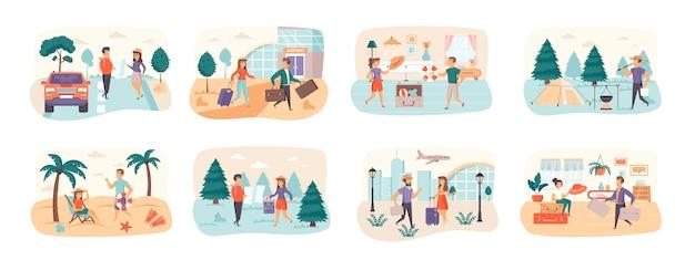 Путешествие, отпуск, набор сцен с людьми, персонажами ситуации
