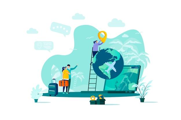 상황에서 사람들이 문자로 스타일의 여행 휴가 개념