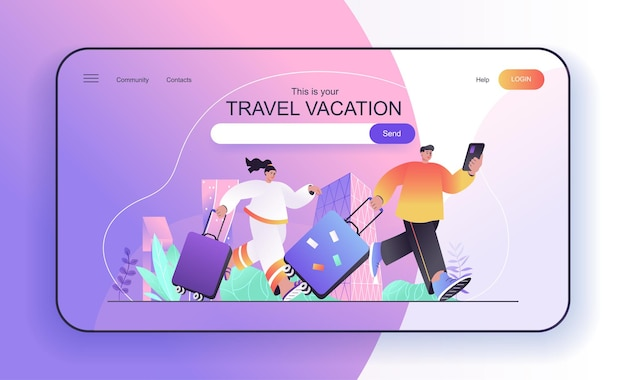 Travel vacation concept for landing page couple with suitcases traveling travelers with luggage