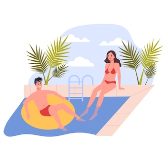 Travel and vacation concept. people relax by the pool. couple having a summer holiday.   illustration