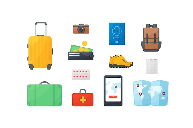 Travel and vacation flat design concept, tourists items, leisure, rest, purse, wallet, boots, first aid kit, suitcase, camera, money, passport, backpack, navigator, phone, map