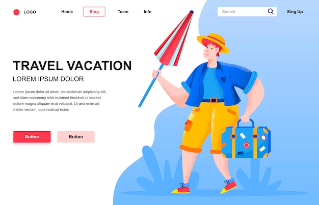 Travel vacation flat landing page composition.
