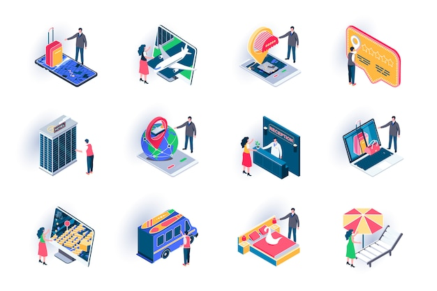 Travel vacation isometric icons set. online ticket booking, hotel reservation service flat illustration. summertime vacation, hot tours offers 3d isometry pictograms with people characters.