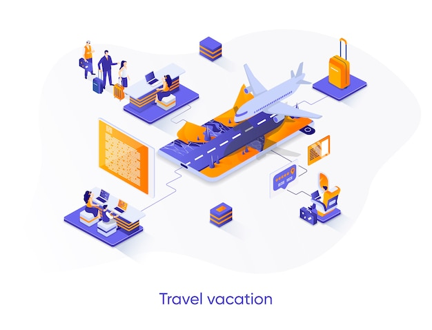 Travel vacation isometric   illustration with people characters