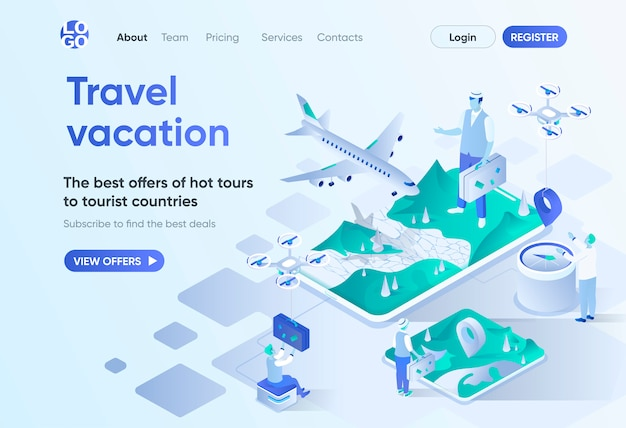Travel vacation isometric landing page. online booking service, airplane transportation, best offers of hot tours. travel agency template for cms and website. isometry scene with people characters.