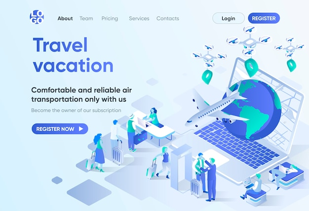 Travel vacation isometric landing page. online booking service, comfortable air transportation and airport boarding. travel agency template for cms and website. isometry scene with people characters.