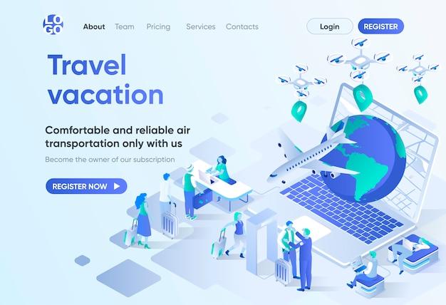여행 휴가 아이소 메트릭 방문 페이지 온라인 예약 서비스, 편안한 항공 운송 및 공항 탑승. cms 및 웹 사이트의 여행사 템플릿. 사람들이 문자 아이소 메트릭 장면.