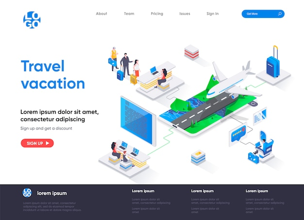 Travel vacation isometric landing page template