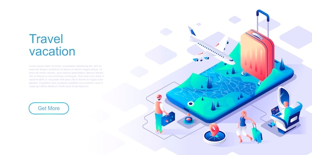 Travel vacation isometric landing page vector template.