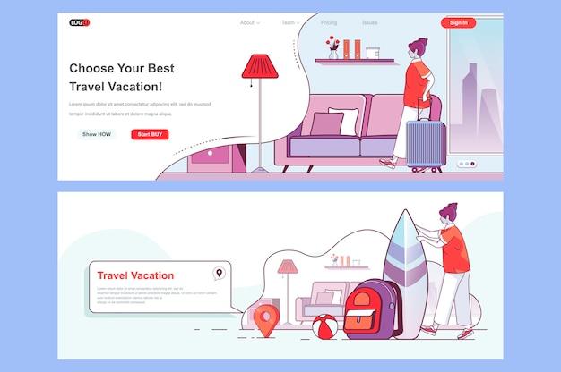 여행 휴가 방문 페이지 템플릿 헤더로 사용