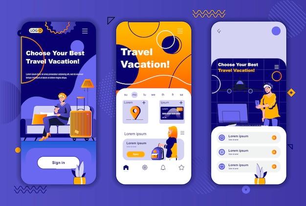 소셜 네트워크 스토리를위한 여행 휴가 모바일 앱 화면 템플릿