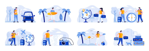 Travel vacation scenes bundle with people characters. tourists traveling by car or plane, couple with luggage, surfer with surfboard situations. summer holidays and activity flat illustration