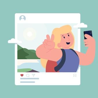 Travel vacation social media concept  illustration