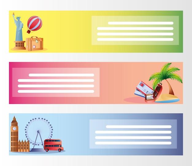 Путешествие, отпуск, туризм, приключения, тропические, городские баннеры, иллюстрация