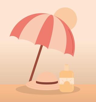 Путешествия отпуск пляжный зонтик солнцезащитный крем и шляпа лето