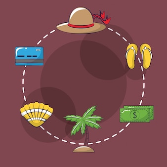 Travel and vacations cartoon icons