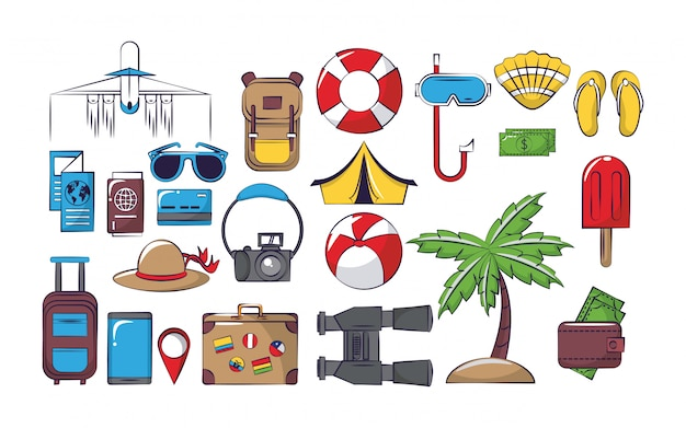 Travel and vacations set of icons