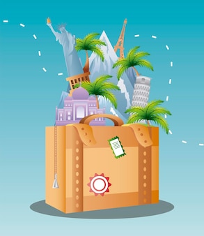 旅行休暇観光ランドマークスーツケースのイラストで世界の有名な場所