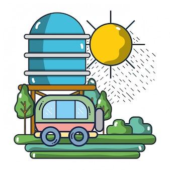 Travel van riding on nature