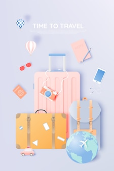 Travel various items in paper art style