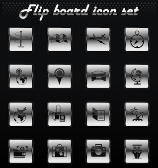 Travel vector flip mechanical icons for user interface design
