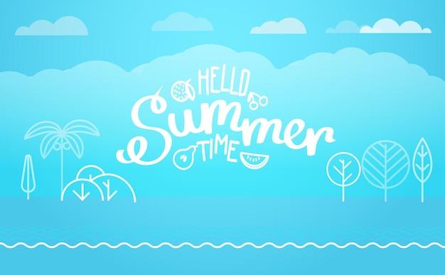 Векторная иллюстрация путешествия. привет лето