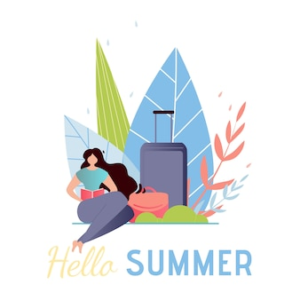 Travel vertical banner. hello summer greeting