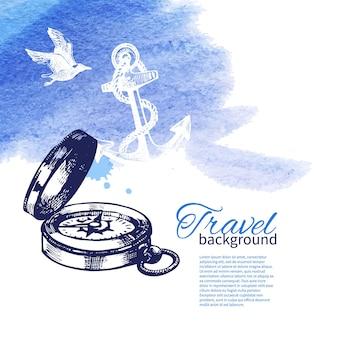 ヴィンテージの背景を旅行します。海の航海のデザイン。手描きスケッチと水彩イラスト