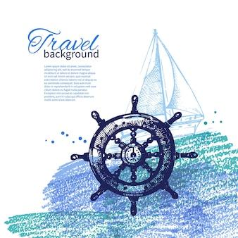 Винтажный фон путешествия. морской морской дизайн. ручной обращается эскиз и акварельные иллюстрации
