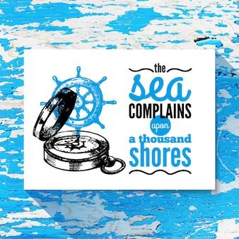 ヴィンテージの背景を旅行します。海の航海のデザイン。手描きベクトルテクスチャスケッチイラスト