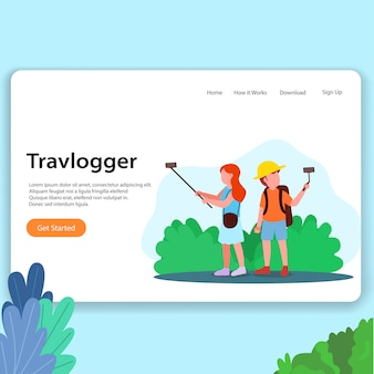 Travel vlogger landing page homesite ui design illustration