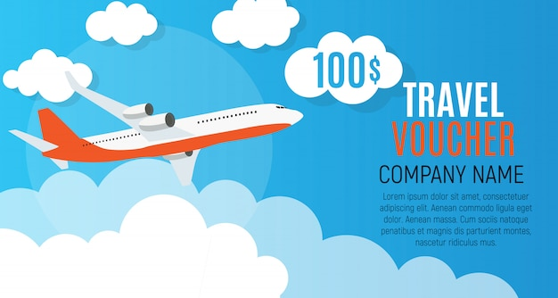 Travel voucher 100 dollar template background with airplane.