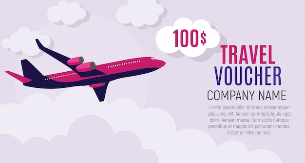 Travel voucher 100 dollar template with airplane