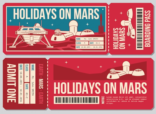 Travel voucher ticket. holiday on mars promo action. ticket to mars planet