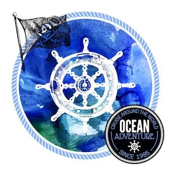 旅行水彩背景。海の航海のデザイン。手描きのテクスチャスケッチベクトルイラスト。活版印刷のデザイン